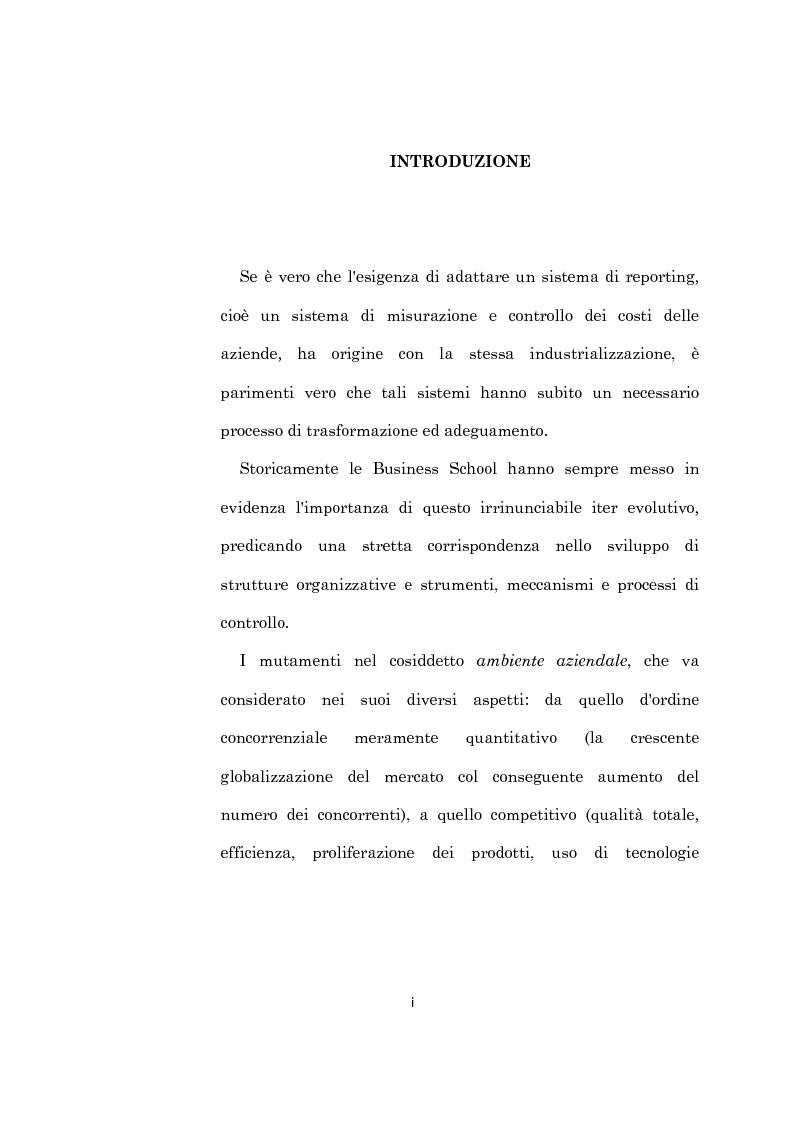 Anteprima della tesi: L'evoluzione dei sistemi di programmazione e controllo: l'Activity Based Costing, Pagina 1
