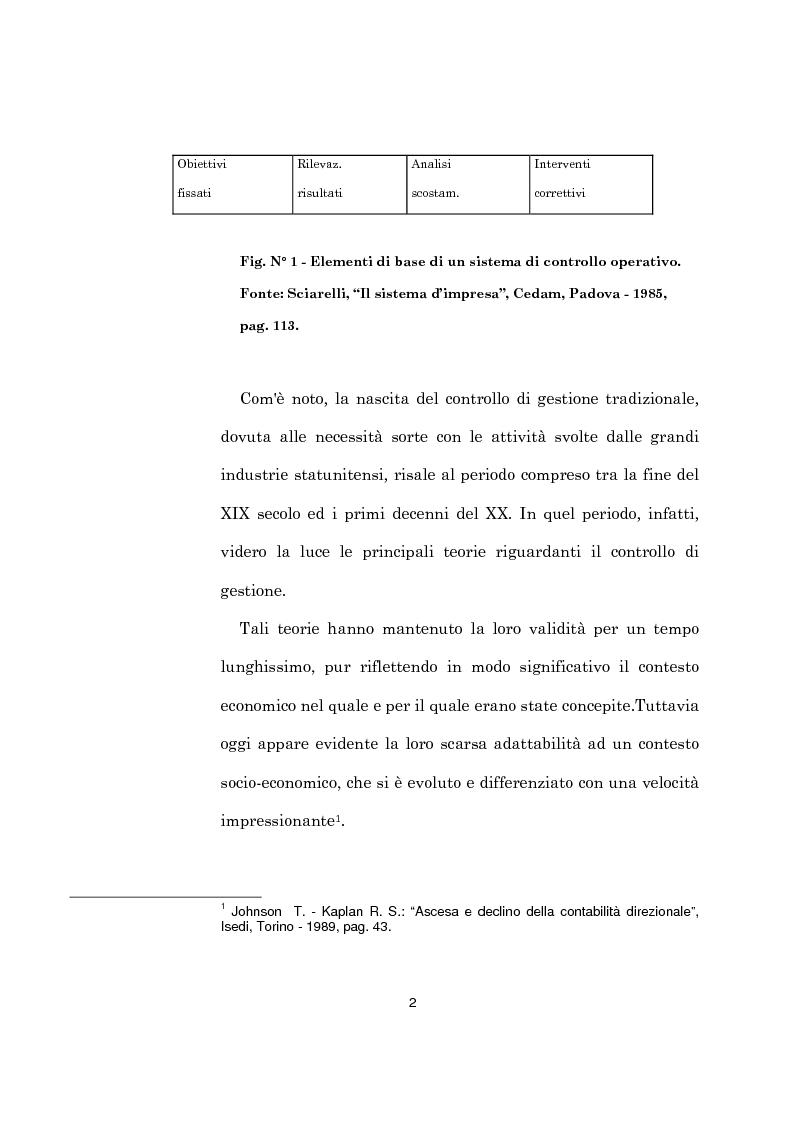 Anteprima della tesi: L'evoluzione dei sistemi di programmazione e controllo: l'Activity Based Costing, Pagina 6