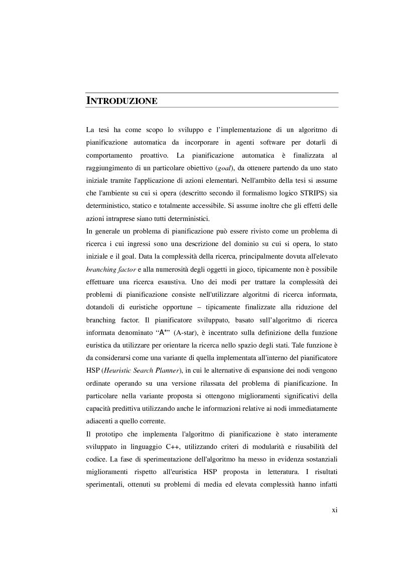 Anteprima della tesi: Realizzazione di un algoritmo di pianificazione basato su euristiche che operano su modelli rilassati, Pagina 1