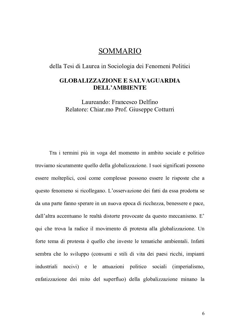 Anteprima della tesi: Globalizzazione e salvaguardia dell'ambiente, Pagina 1