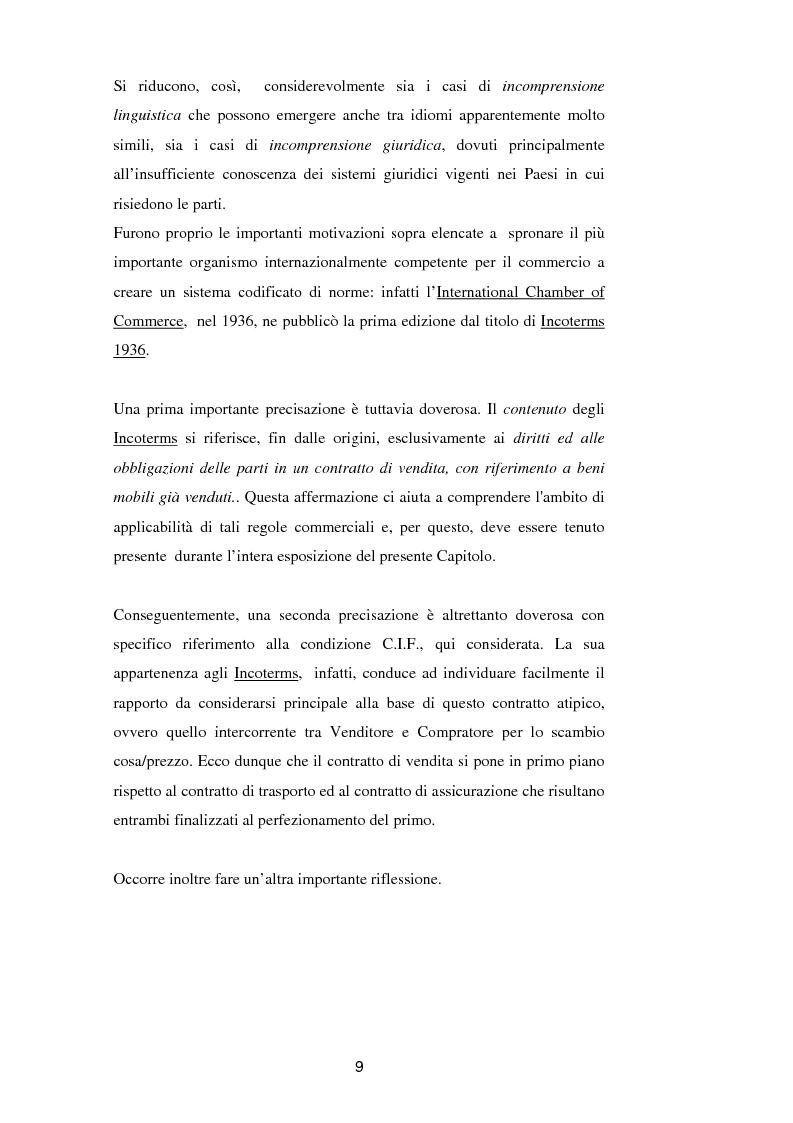 Anteprima della tesi: La vendita a condizione C.I.F. nella giurisprudenza di Common Law, Pagina 13