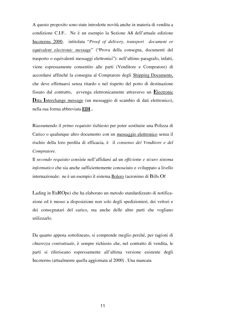 Anteprima della tesi: La vendita a condizione C.I.F. nella giurisprudenza di Common Law, Pagina 15