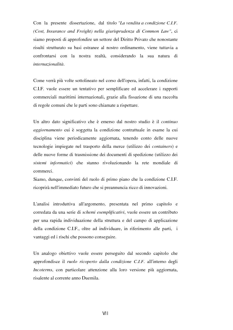 Anteprima della tesi: La vendita a condizione C.I.F. nella giurisprudenza di Common Law, Pagina 2