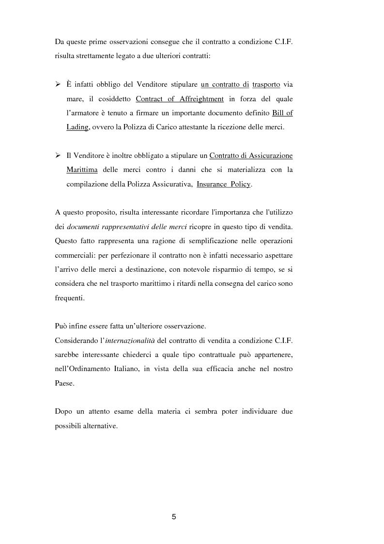 Anteprima della tesi: La vendita a condizione C.I.F. nella giurisprudenza di Common Law, Pagina 9