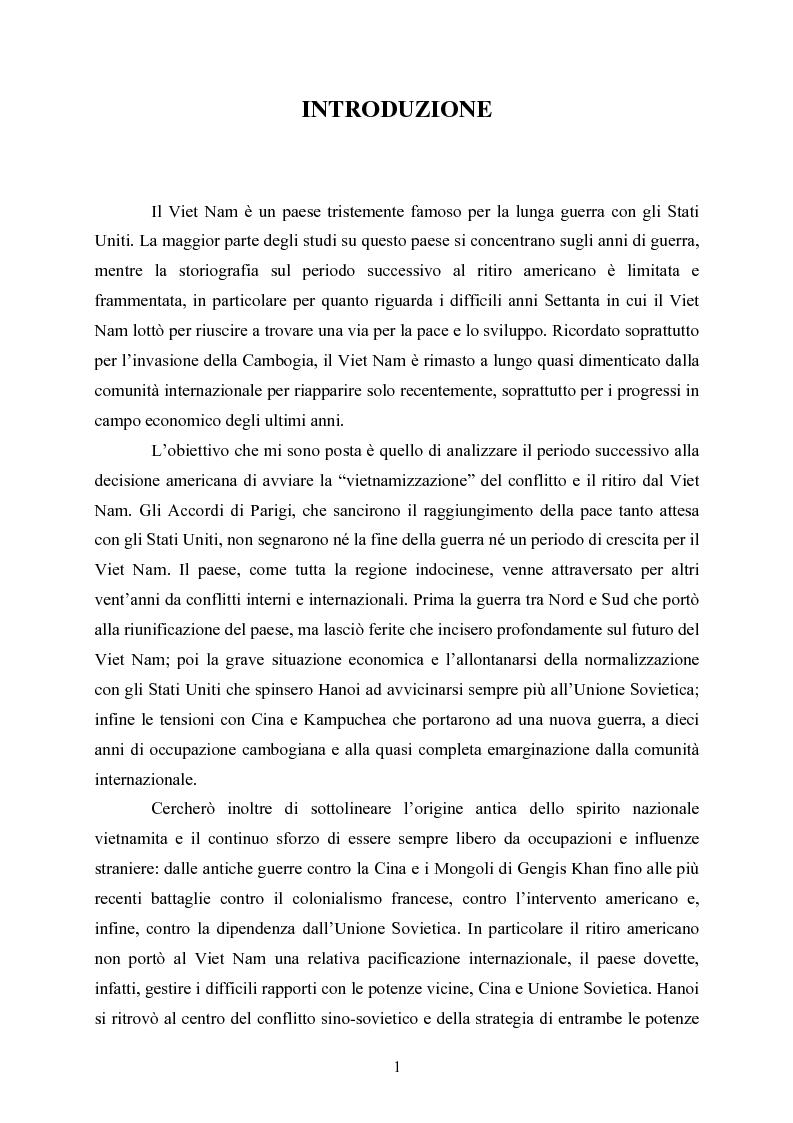 Anteprima della tesi: VIET NAM: Una pace difficile - Dalla ''vietnamizzazione'' del conflitto all'invasione della Cambogia, Pagina 1