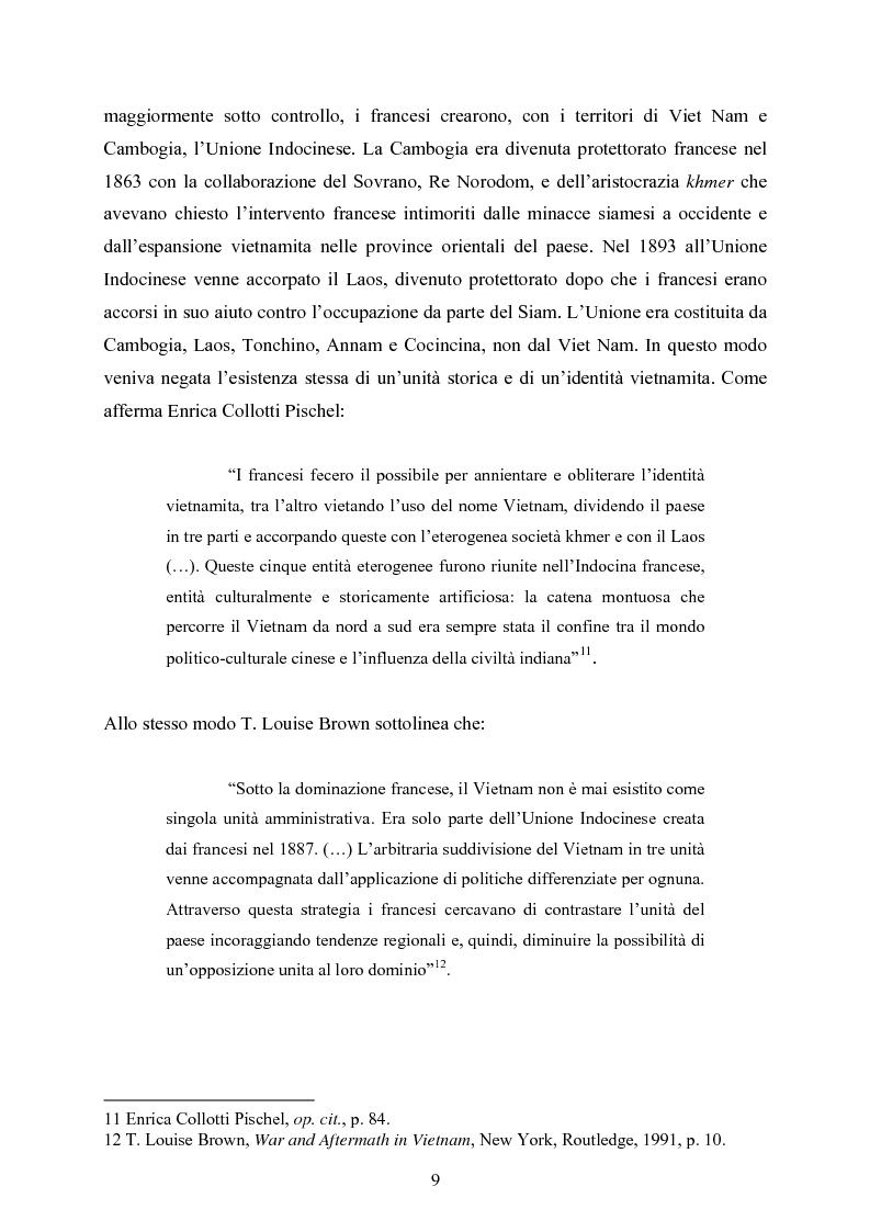 Anteprima della tesi: VIET NAM: Una pace difficile - Dalla ''vietnamizzazione'' del conflitto all'invasione della Cambogia, Pagina 9