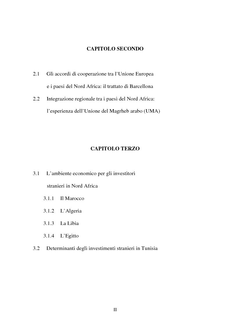 Indice della tesi: Gli investimenti stranieri nel Nord Africa in orospettiva storica: il caso della Tunisia, Pagina 2