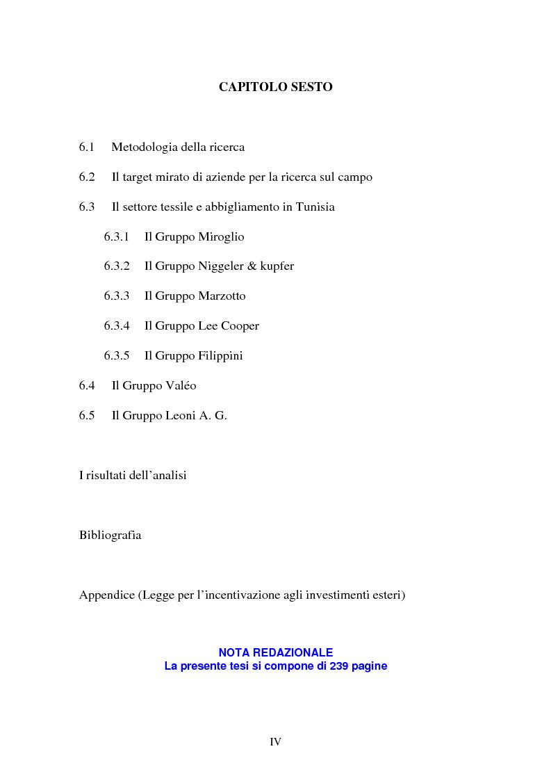 Indice della tesi: Gli investimenti stranieri nel Nord Africa in orospettiva storica: il caso della Tunisia, Pagina 4