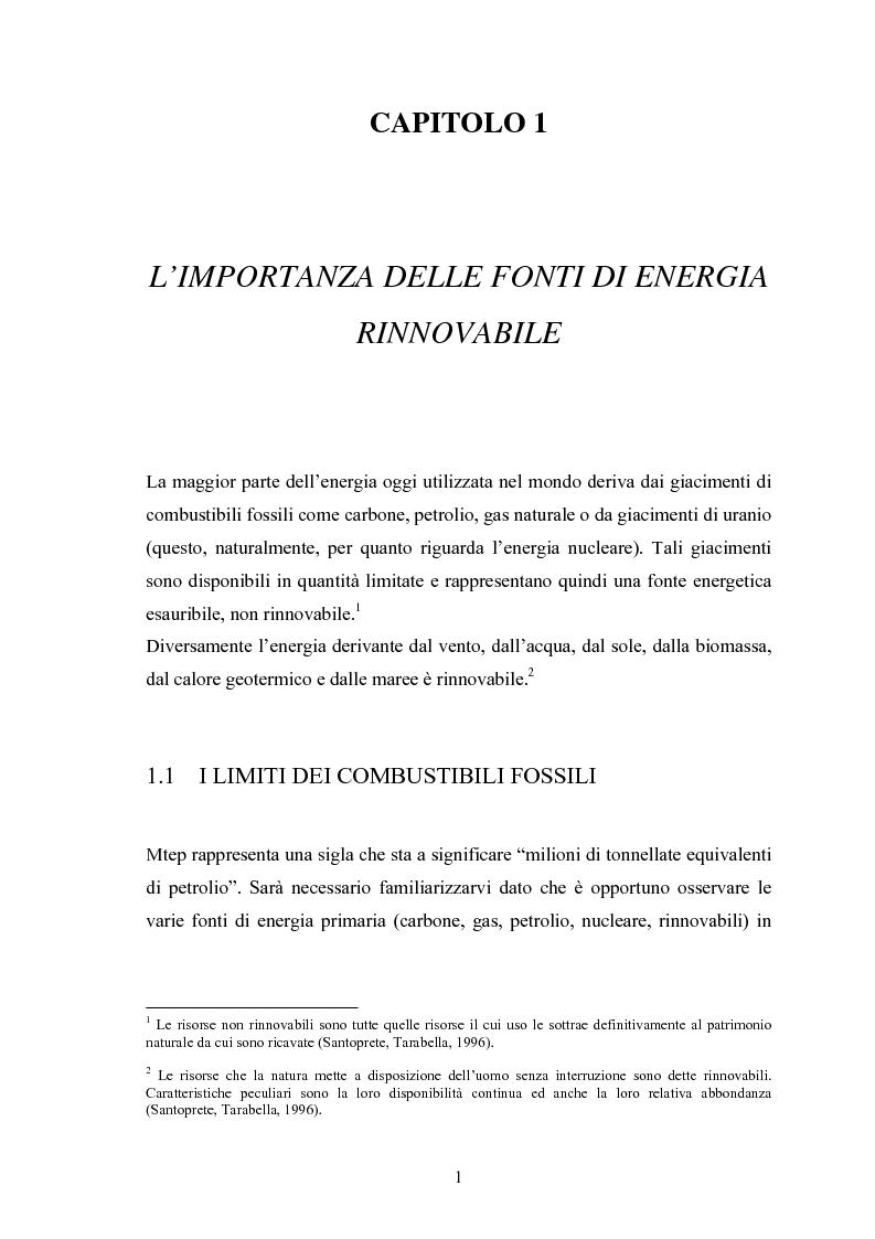 Anteprima della tesi: Le fonti energetiche rinnovabili. Valutazioni economiche, politiche ed ambientali., Pagina 6