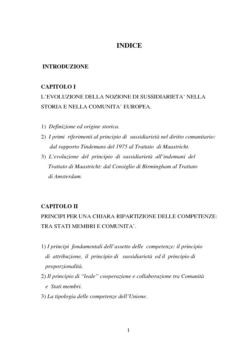 Indice della tesi: Il principio di sussidiarietà nel diritto comunitario, Pagina 1