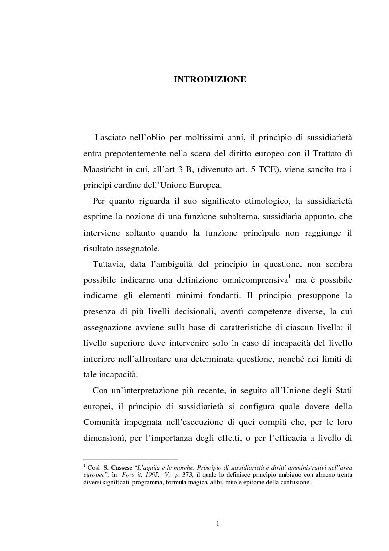 Anteprima della tesi: Il principio di sussidiarietà nel diritto comunitario, Pagina 1