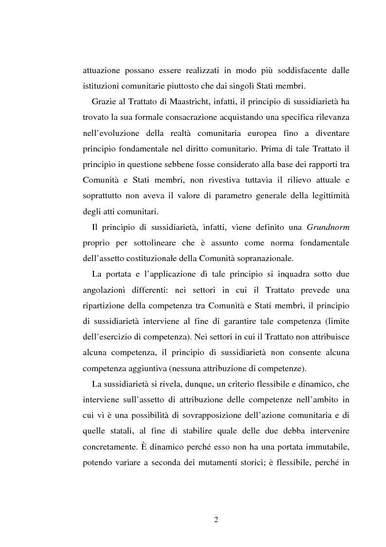 Anteprima della tesi: Il principio di sussidiarietà nel diritto comunitario, Pagina 2