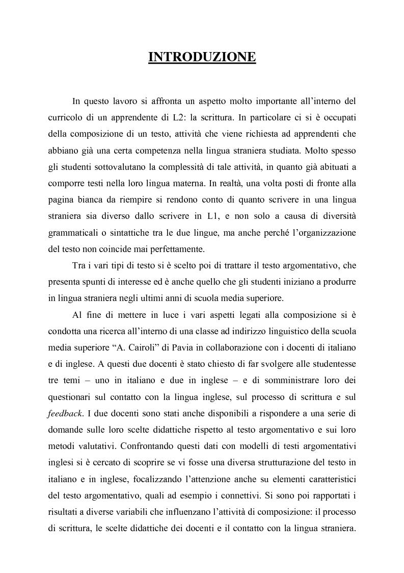Comporre in italiano e in inglese a scuola: il caso del testo argomentativo - Tesi di Laurea