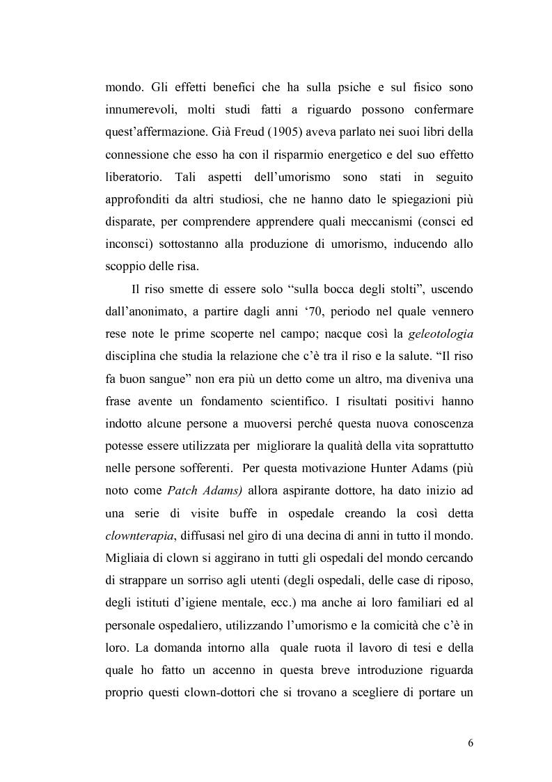 Anteprima della tesi: Ridere per far bene a se stessi o per far ridere gli altri? L'umorismo nella clownterapia, Pagina 2