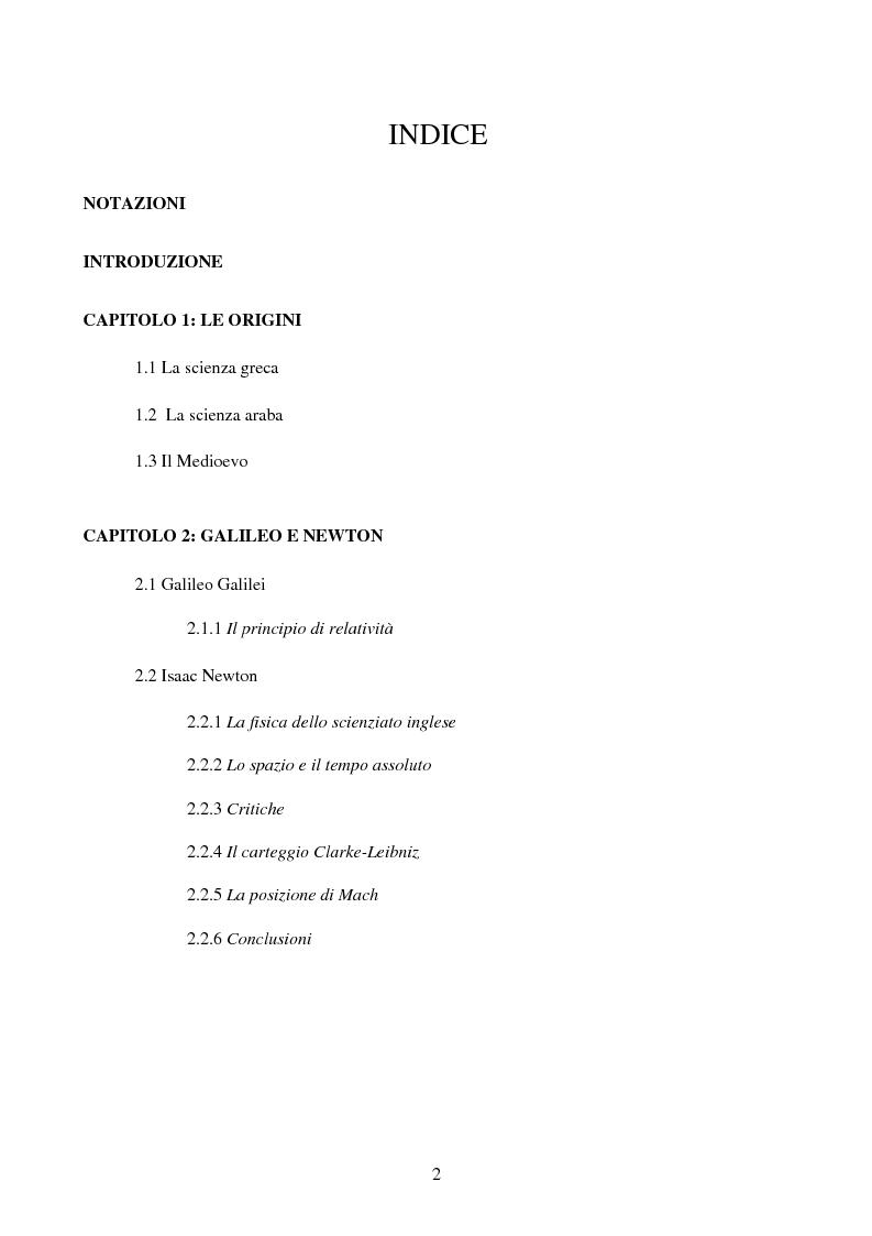 Indice della tesi: Il Principio di Relatività, Pagina 1