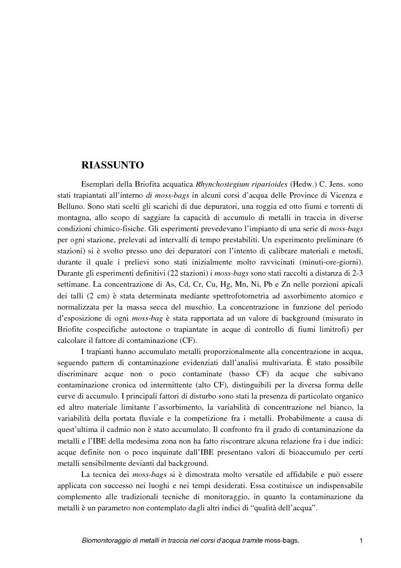 Anteprima della tesi: Biomonitoraggio di metalli in traccia nei corsi d'acqua tramite moss-bags, Pagina 1