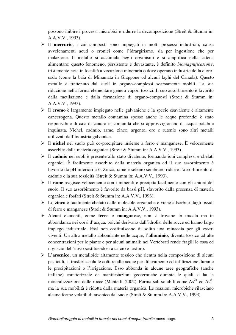Anteprima della tesi: Biomonitoraggio di metalli in traccia nei corsi d'acqua tramite moss-bags, Pagina 3