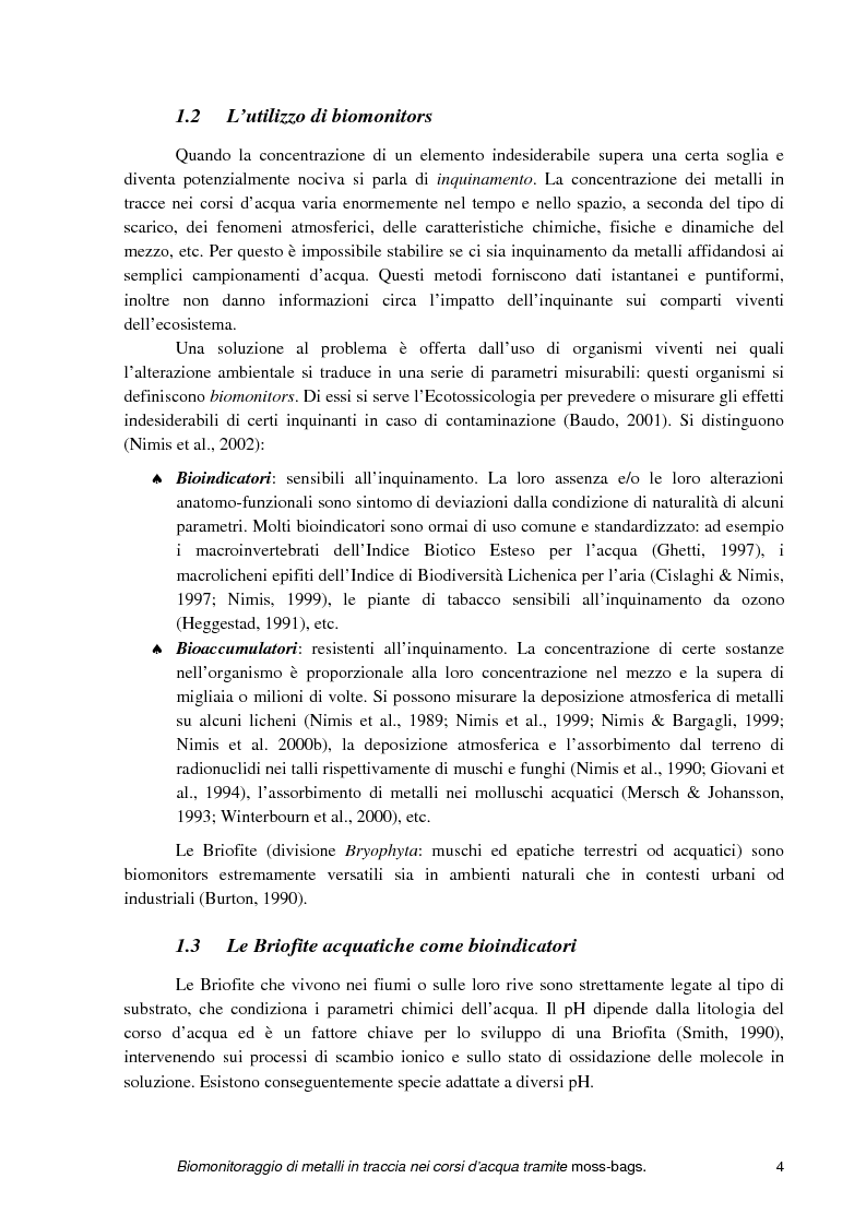 Anteprima della tesi: Biomonitoraggio di metalli in traccia nei corsi d'acqua tramite moss-bags, Pagina 4
