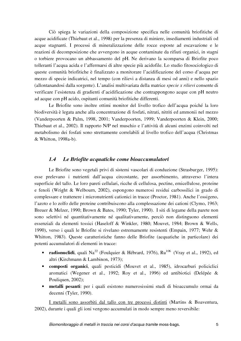 Anteprima della tesi: Biomonitoraggio di metalli in traccia nei corsi d'acqua tramite moss-bags, Pagina 5