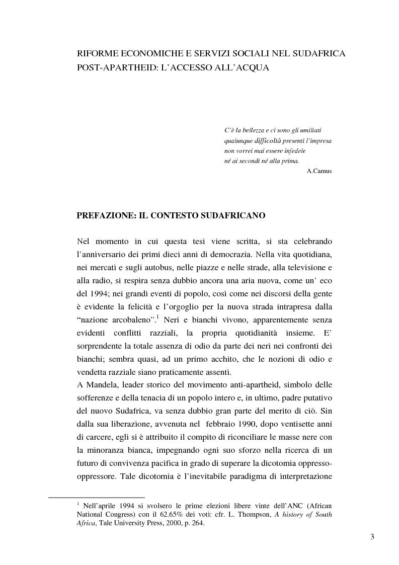 Anteprima della tesi: Riforme e conomiche e servizi sociali nel sudafrica post-apartheid: l'accesso all'acqua, Pagina 1