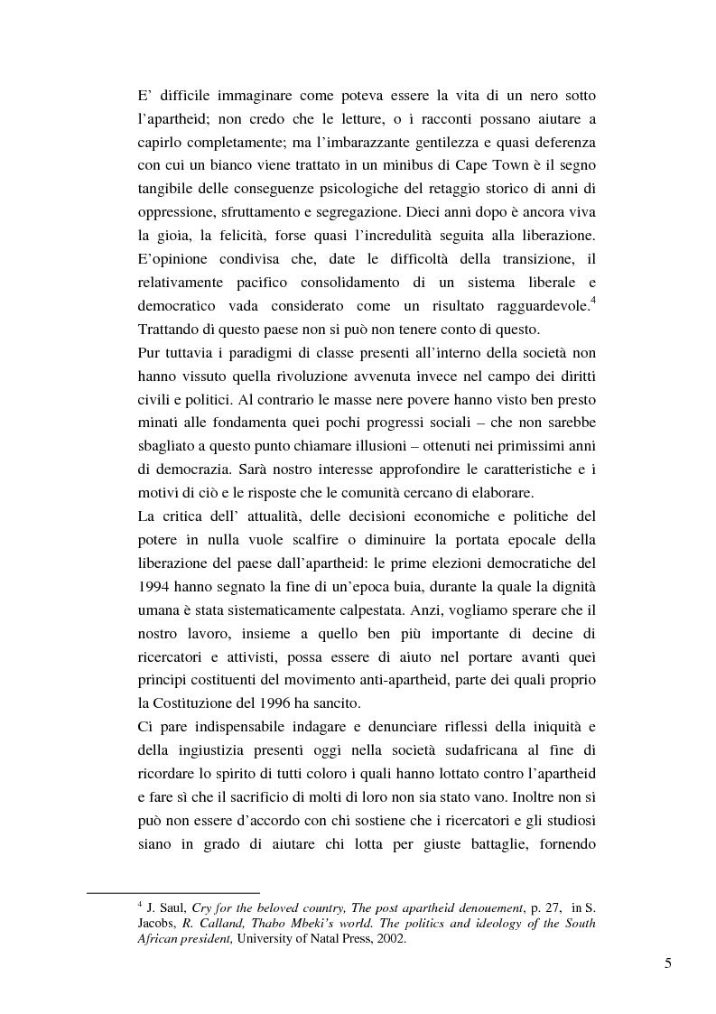Anteprima della tesi: Riforme e conomiche e servizi sociali nel sudafrica post-apartheid: l'accesso all'acqua, Pagina 3