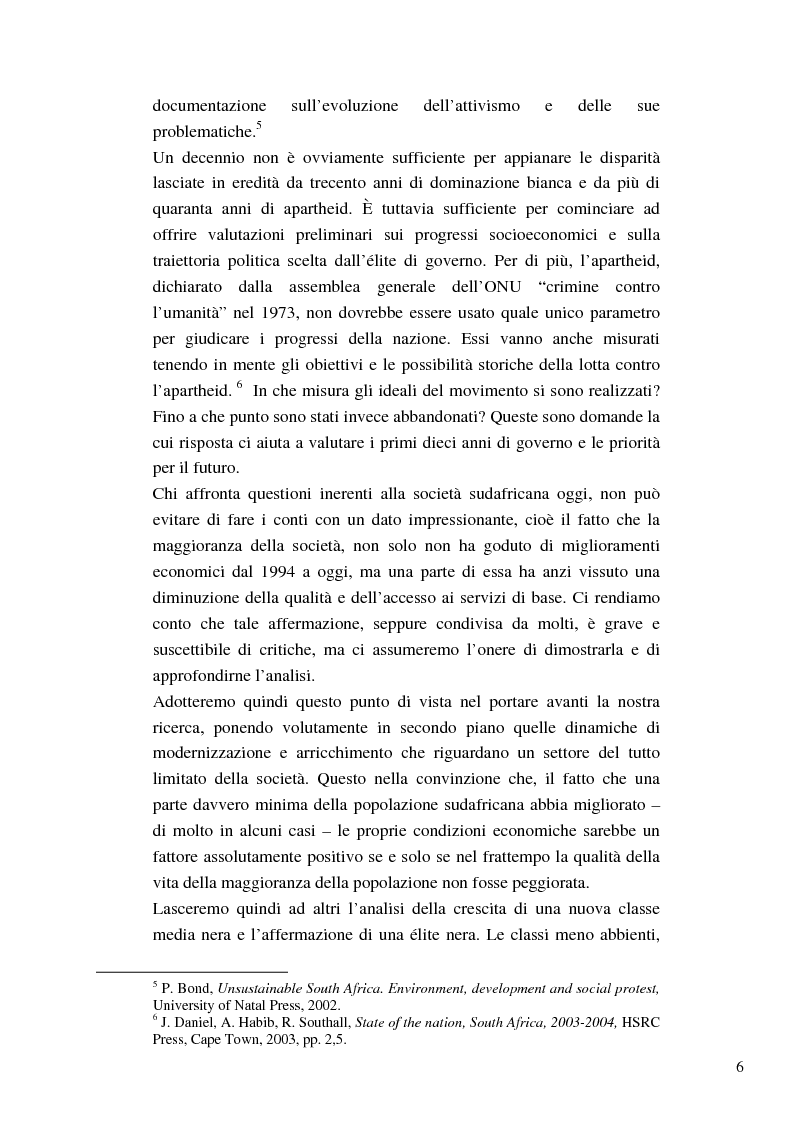 Anteprima della tesi: Riforme e conomiche e servizi sociali nel sudafrica post-apartheid: l'accesso all'acqua, Pagina 4