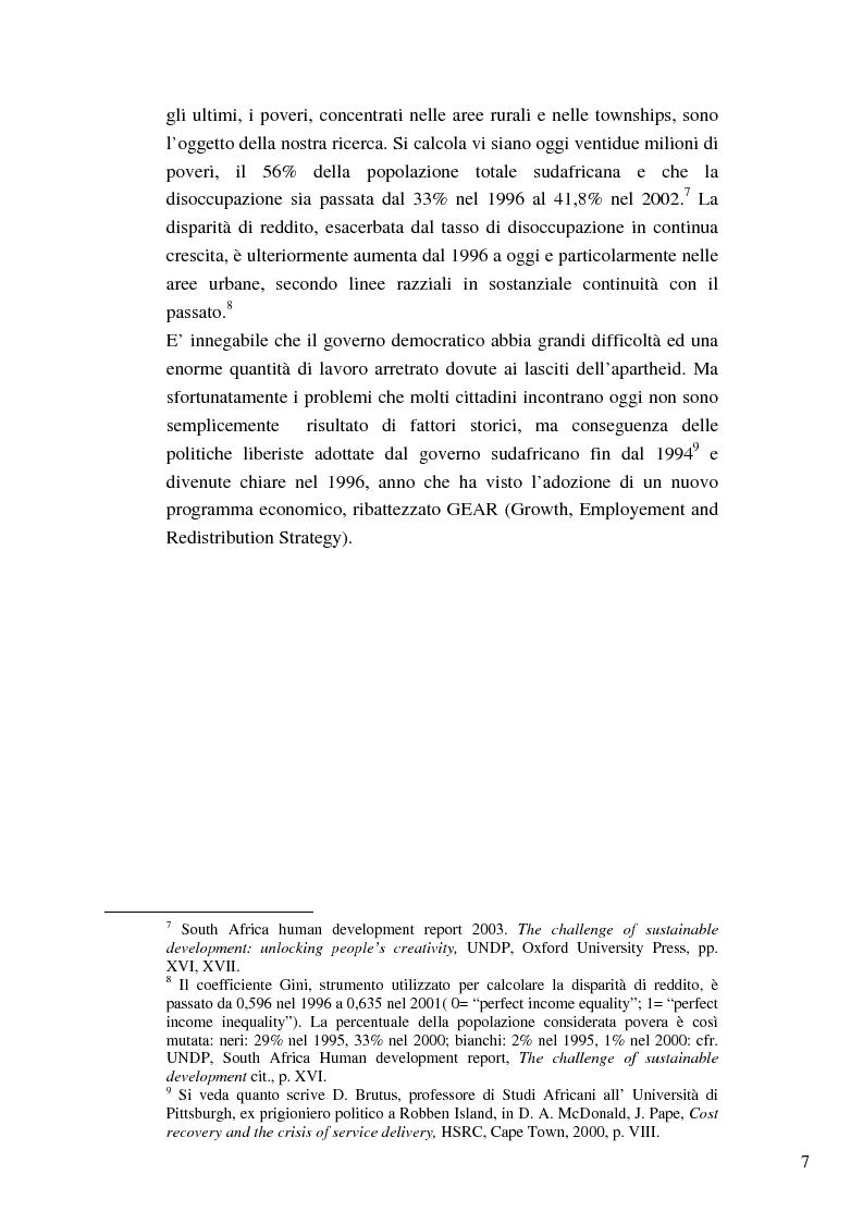 Anteprima della tesi: Riforme e conomiche e servizi sociali nel sudafrica post-apartheid: l'accesso all'acqua, Pagina 5