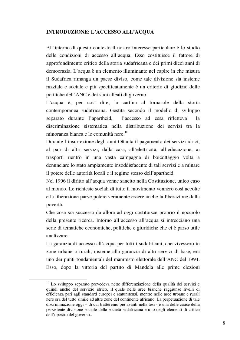 Anteprima della tesi: Riforme e conomiche e servizi sociali nel sudafrica post-apartheid: l'accesso all'acqua, Pagina 6