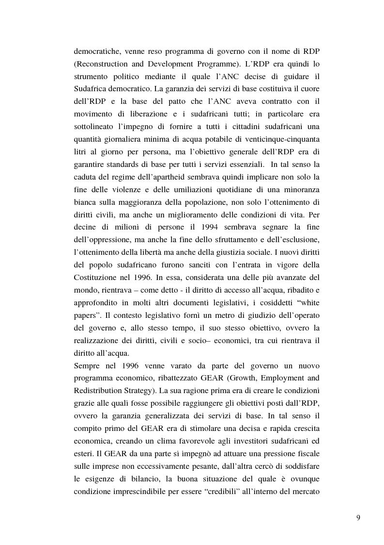 Anteprima della tesi: Riforme e conomiche e servizi sociali nel sudafrica post-apartheid: l'accesso all'acqua, Pagina 7