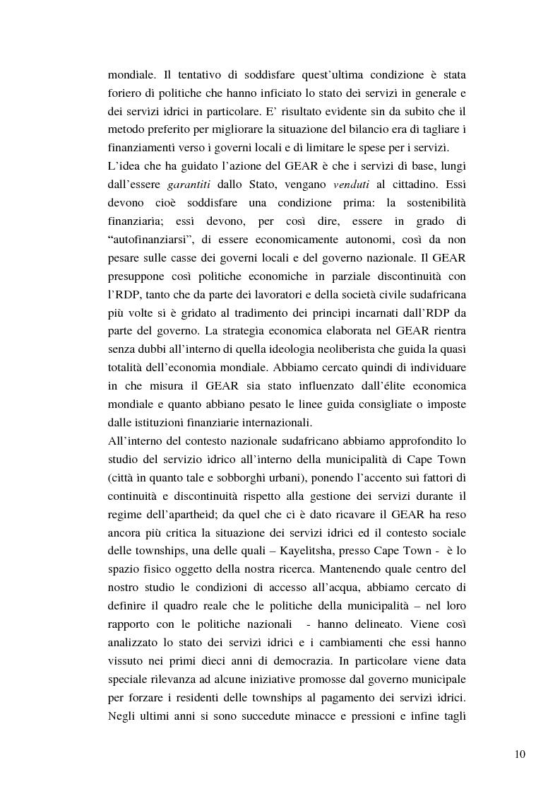 Anteprima della tesi: Riforme e conomiche e servizi sociali nel sudafrica post-apartheid: l'accesso all'acqua, Pagina 8