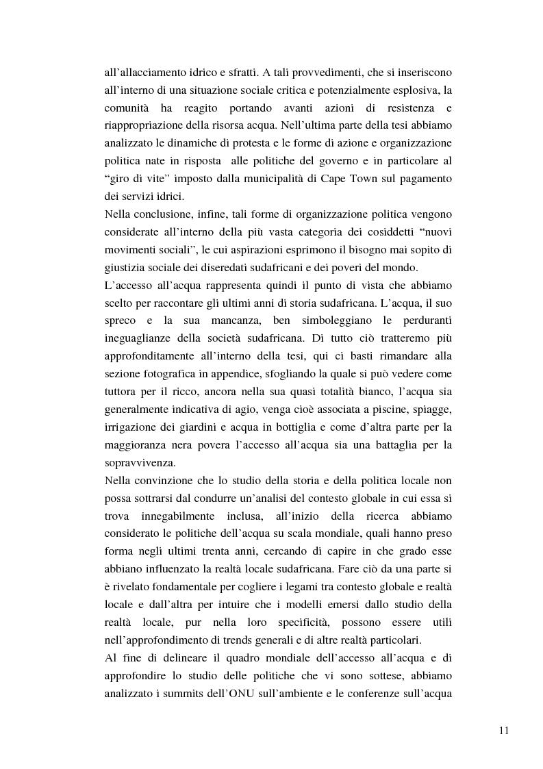 Anteprima della tesi: Riforme e conomiche e servizi sociali nel sudafrica post-apartheid: l'accesso all'acqua, Pagina 9
