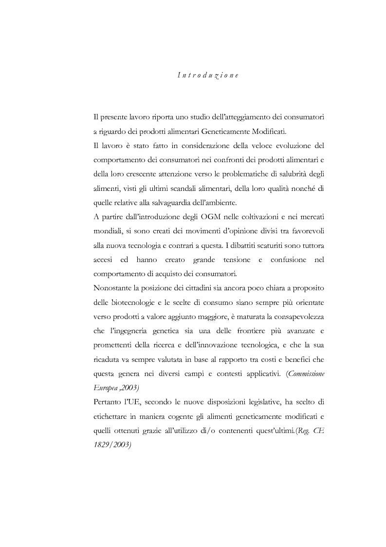 Anteprima della tesi: Atteggiamento dei consumatori verso gli alimenti geneticamente modificati: applicazione del choice modelling nella città di Bari, Pagina 1