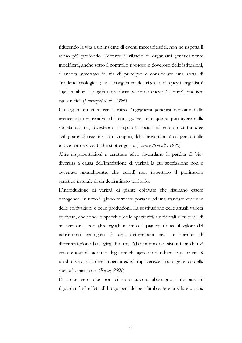 Anteprima della tesi: Atteggiamento dei consumatori verso gli alimenti geneticamente modificati: applicazione del choice modelling nella città di Bari, Pagina 11