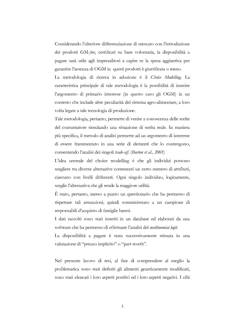 Anteprima della tesi: Atteggiamento dei consumatori verso gli alimenti geneticamente modificati: applicazione del choice modelling nella città di Bari, Pagina 3