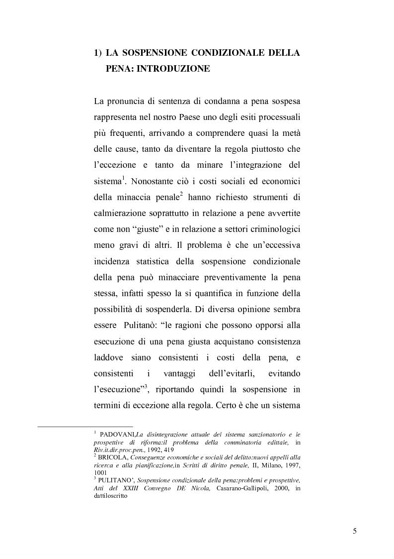 Anteprima della tesi: La sospensione condizionale della pena, Pagina 1