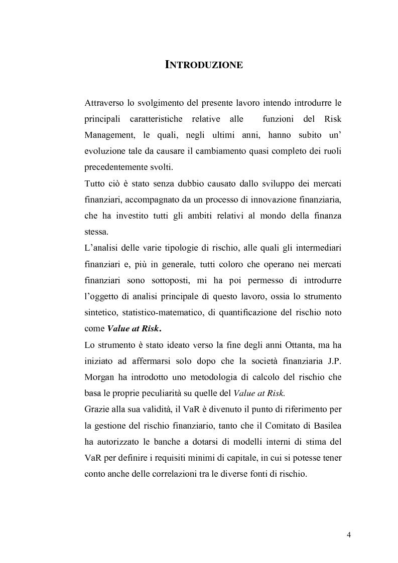 Anteprima della tesi: Evidenza empirica sul Value at Risk, Pagina 1