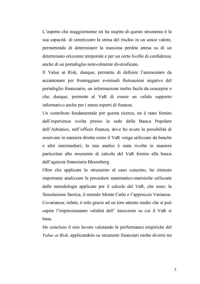 Anteprima della tesi: Evidenza empirica sul Value at Risk, Pagina 2