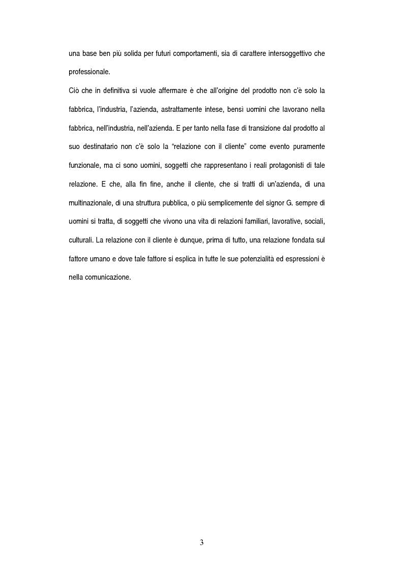 Anteprima della tesi: Tecniche della comunicazione nella '' Relazione con il cliente'', Pagina 3