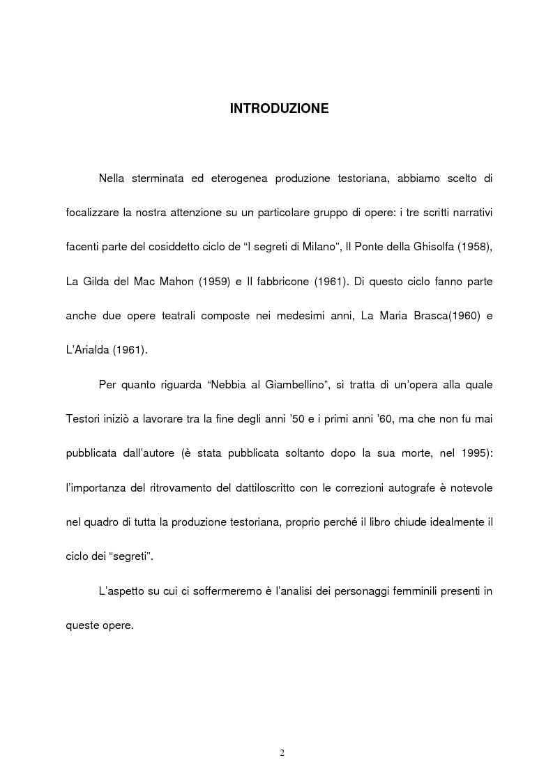 Anteprima della tesi: Le figure femminili nel ''ciclo dei segreti di Milano'' di Giovanni Testori, Pagina 1