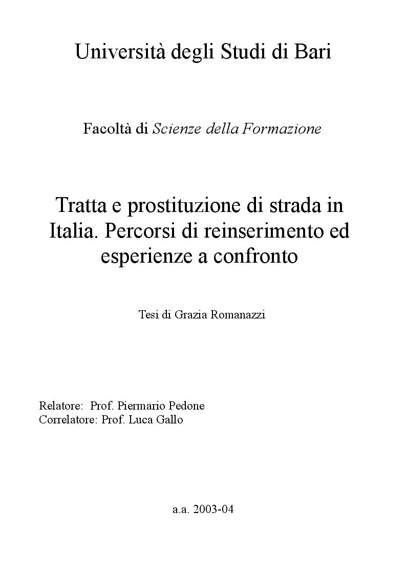 Anteprima della tesi: Tratta e prostituzione di strada in Italia. Percorsi di reinserimento ed esperienze a confronto., Pagina 1