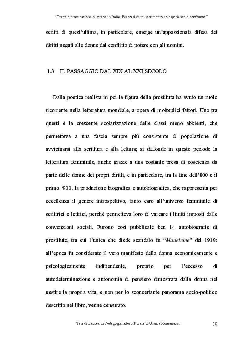 Anteprima della tesi: Tratta e prostituzione di strada in Italia. Percorsi di reinserimento ed esperienze a confronto., Pagina 11