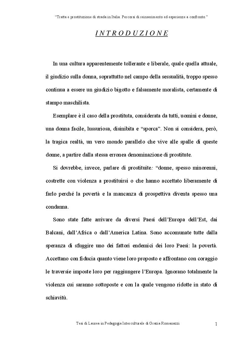Anteprima della tesi: Tratta e prostituzione di strada in Italia. Percorsi di reinserimento ed esperienze a confronto., Pagina 2