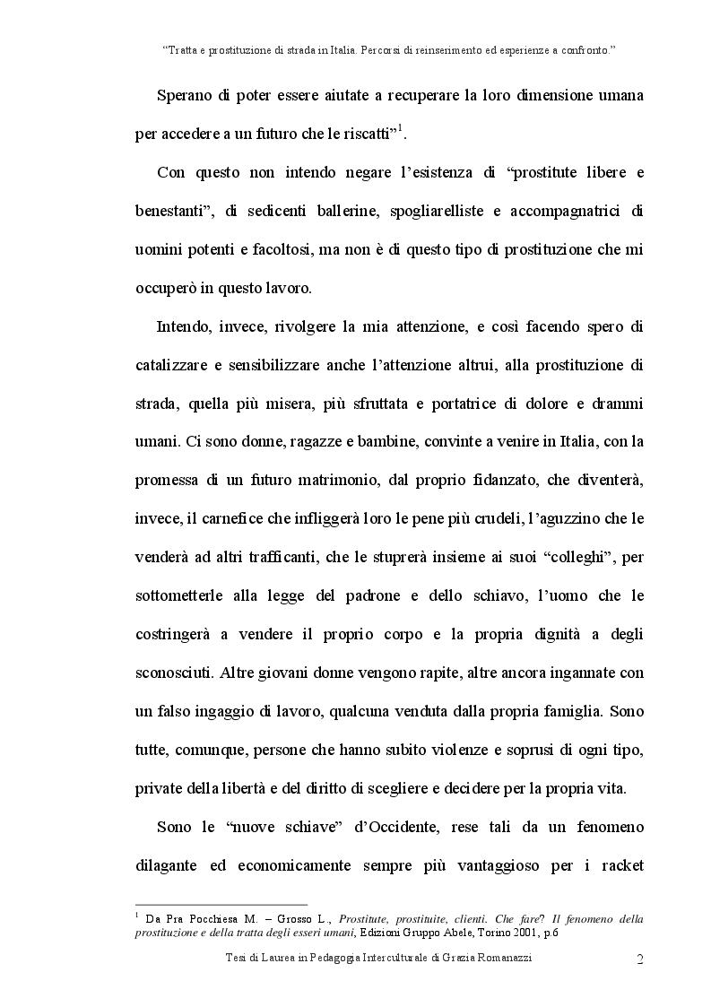 Anteprima della tesi: Tratta e prostituzione di strada in Italia. Percorsi di reinserimento ed esperienze a confronto., Pagina 3