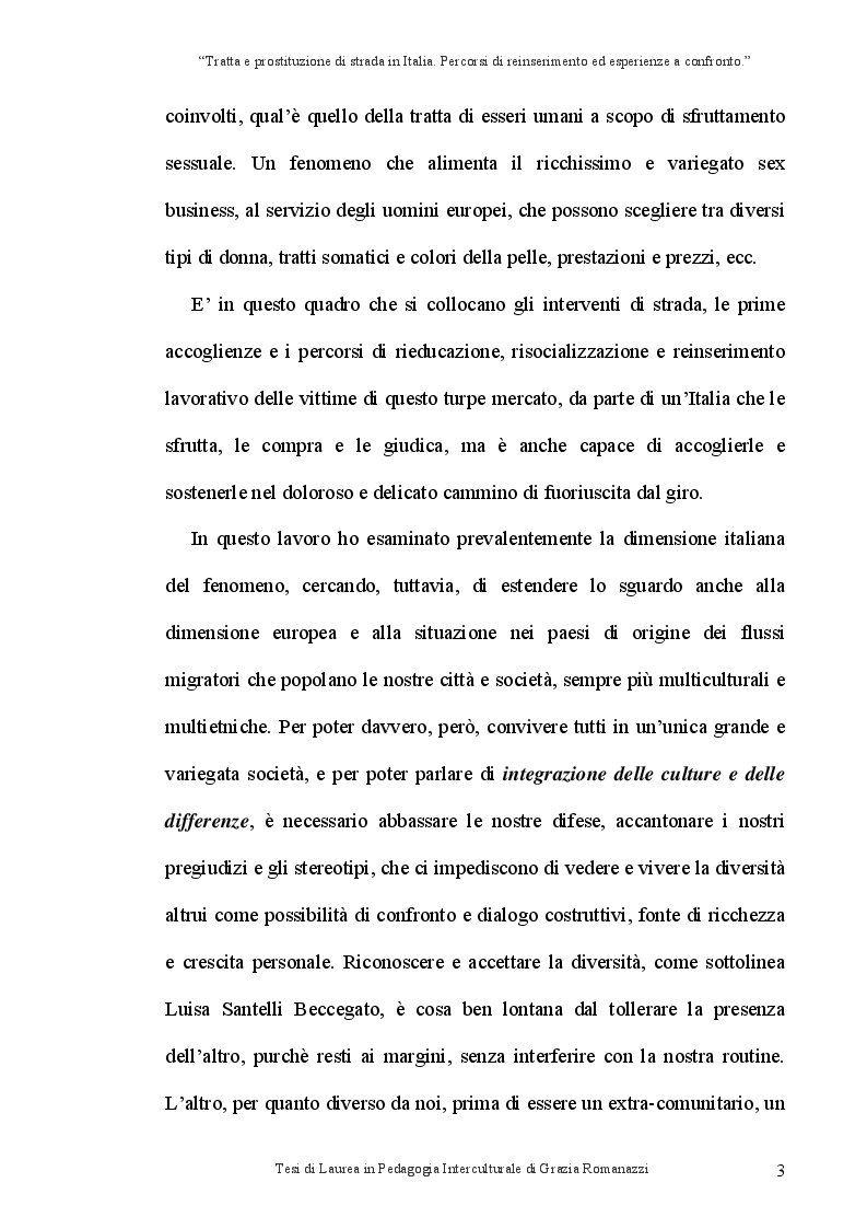 Anteprima della tesi: Tratta e prostituzione di strada in Italia. Percorsi di reinserimento ed esperienze a confronto., Pagina 4