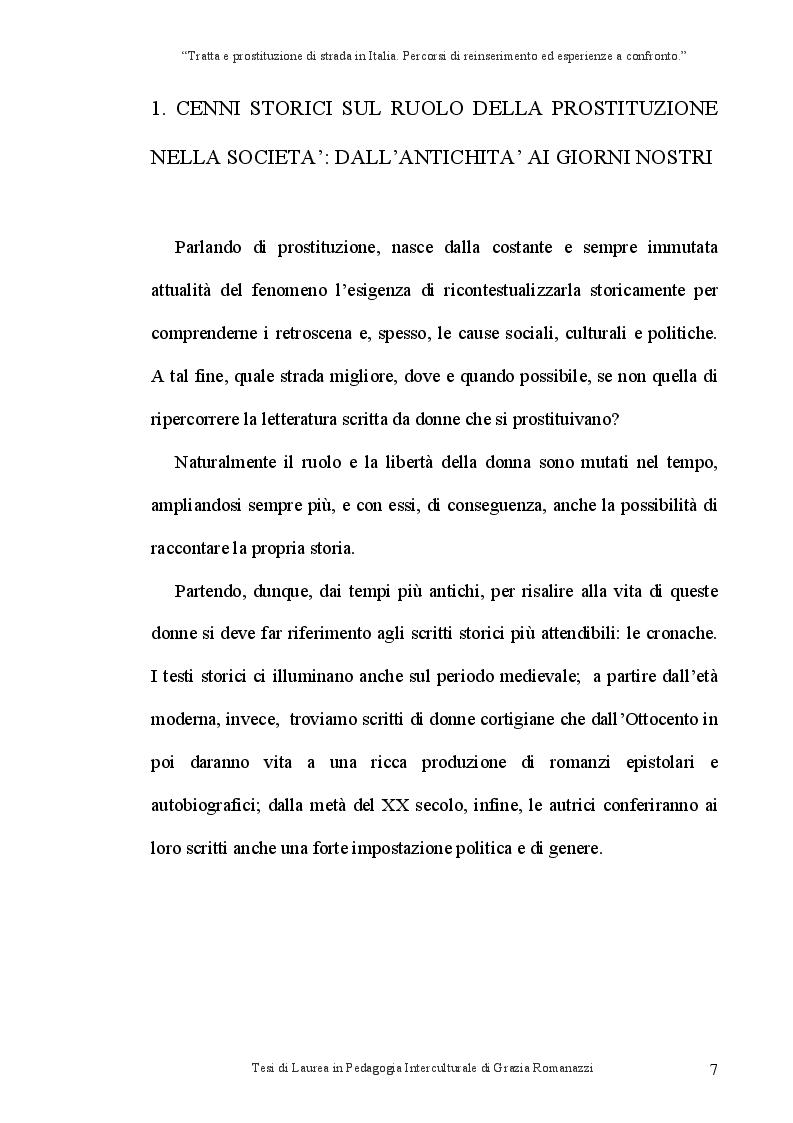 Anteprima della tesi: Tratta e prostituzione di strada in Italia. Percorsi di reinserimento ed esperienze a confronto., Pagina 8