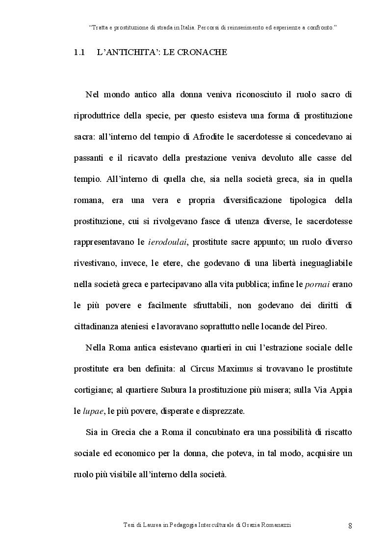 Anteprima della tesi: Tratta e prostituzione di strada in Italia. Percorsi di reinserimento ed esperienze a confronto., Pagina 9