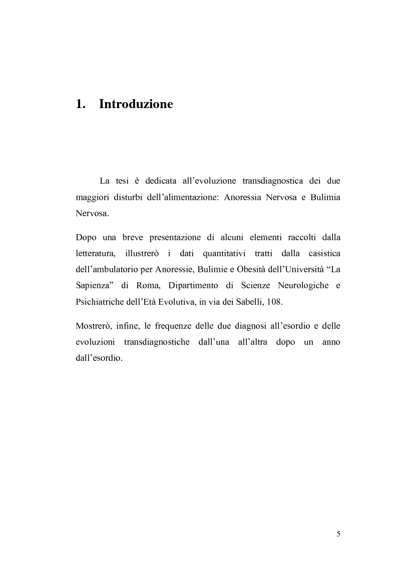 Anteprima della tesi: Anoressia Nervosa e Bulimia Nervosa, Pagina 1