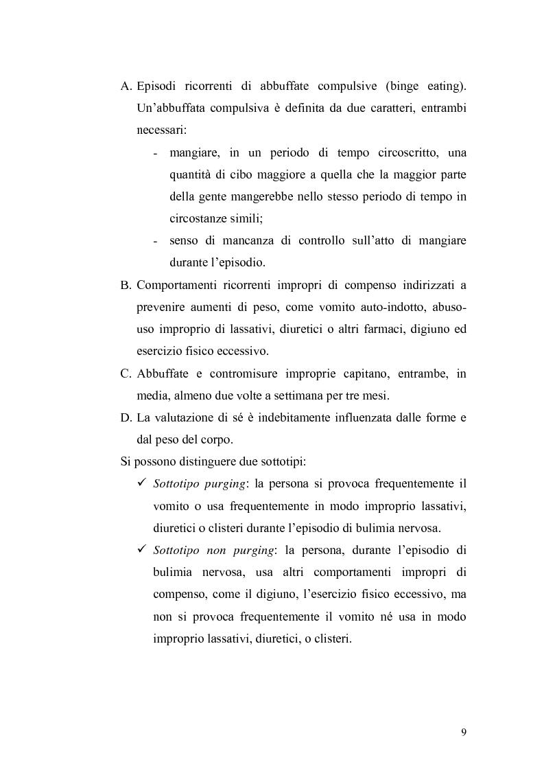 Anteprima della tesi: Anoressia Nervosa e Bulimia Nervosa, Pagina 5
