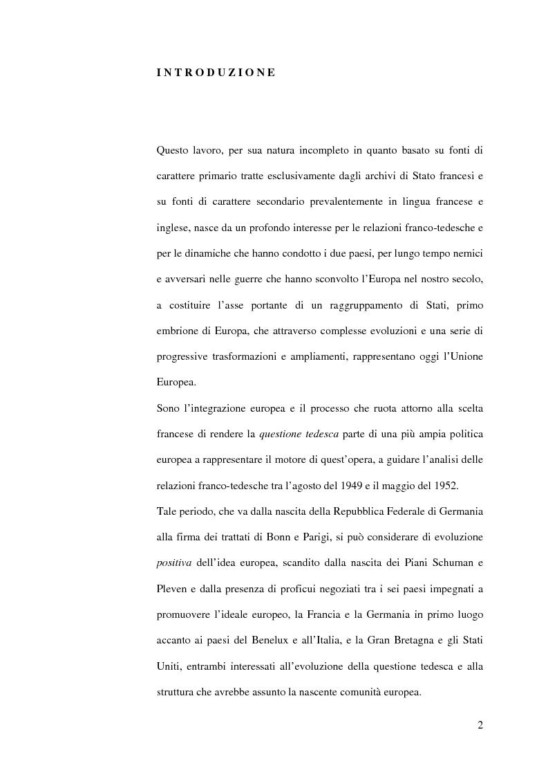 Anteprima della tesi: La diplomazia francese e la questione tedesca dalla nascita della Repubblica Federale agli accordi di Bonn e di Parigi 1949-1952, Pagina 1