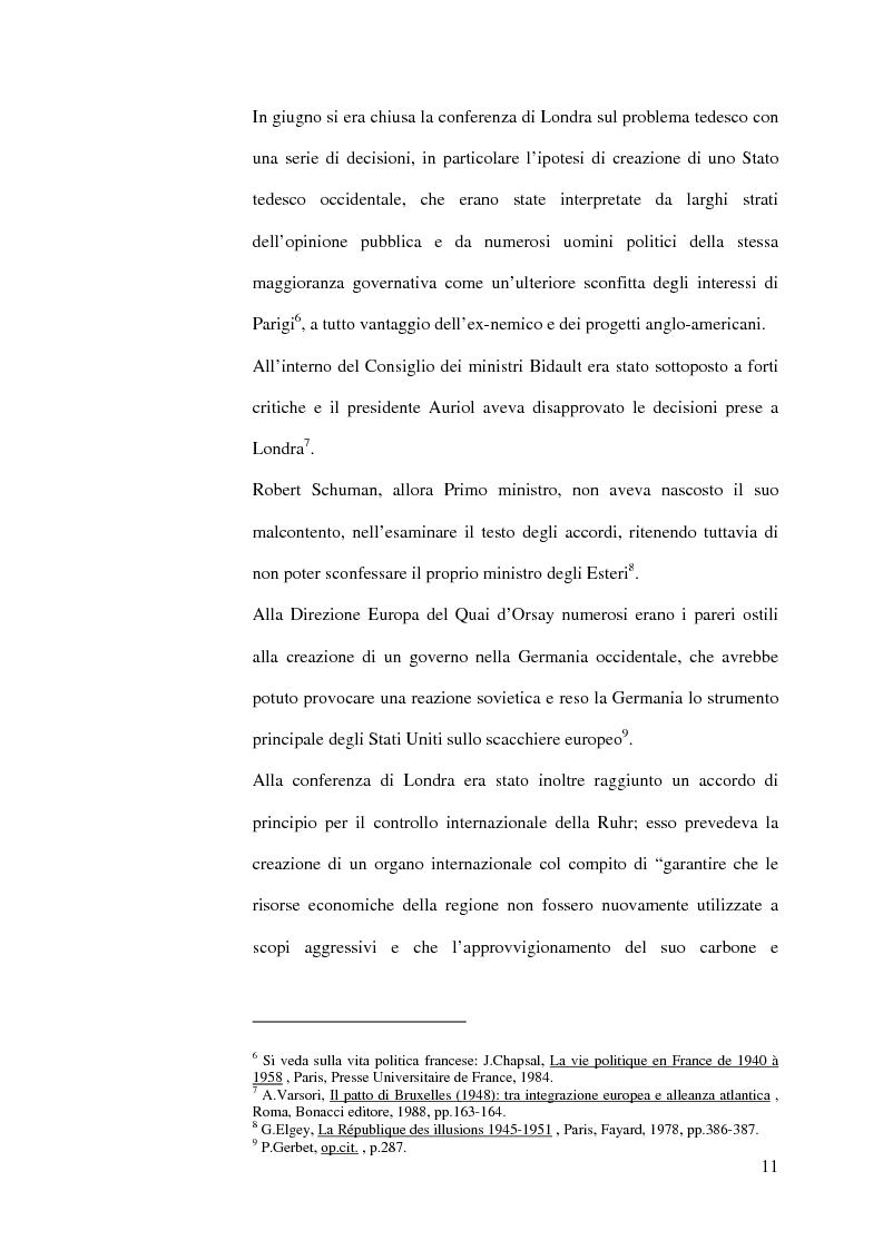 Anteprima della tesi: La diplomazia francese e la questione tedesca dalla nascita della Repubblica Federale agli accordi di Bonn e di Parigi 1949-1952, Pagina 10